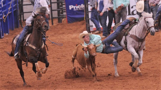 Comanche's Chris Dixon drops on a steer during the short-go of the steer wrestling event at the Texas High School Rodeo Association State Finals on Saturday at Taylor Telecom Arena. Dixon finished third overall to punch his ticket to nationals.