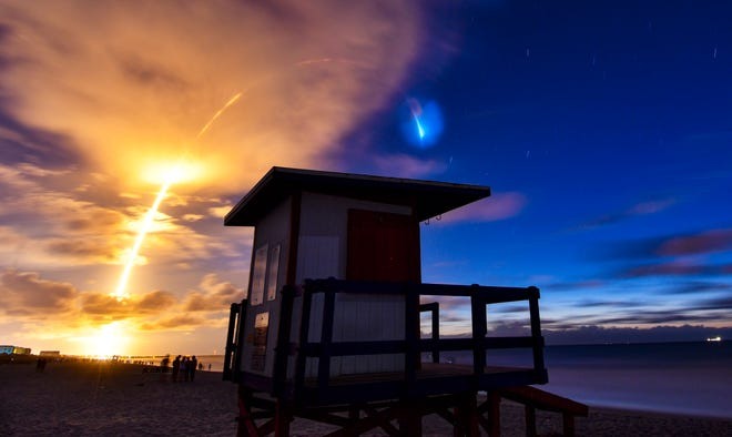 As seen from Cocoa Beach: A SpaceX Falcon 9 rocket launches from Cape Canaveral Air Force Station with the ninth batch of the company's Starlink internet satellites earlier this month. SpaceX will attempt another Starlink launch Thursday.