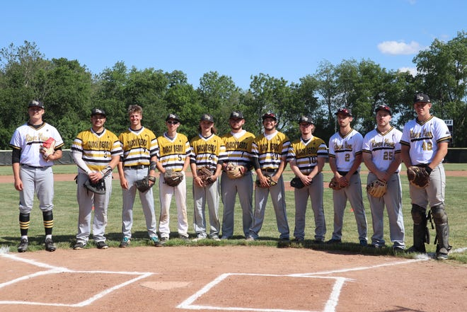 All 11 River View seniors lined up at home plate to be honored before their final game on Friday. The team held a senior night ceremony and also dedicated the hitting building to former coach Mike Burr.