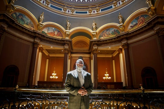 Rep. Ako Abdul-Samad poses for a portrait at the Capitol on Thursday, June 11, 2020 in Des Moines.