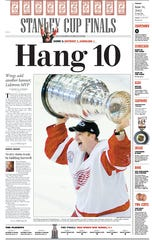 Detroit Free Press sports front page on June 14, 2002.