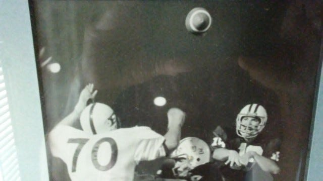 University of Evansville quarterback Randy Mattingly fires a pass against Eastern Illinois in 1972. He later played in the NFL and Canadian Football League.