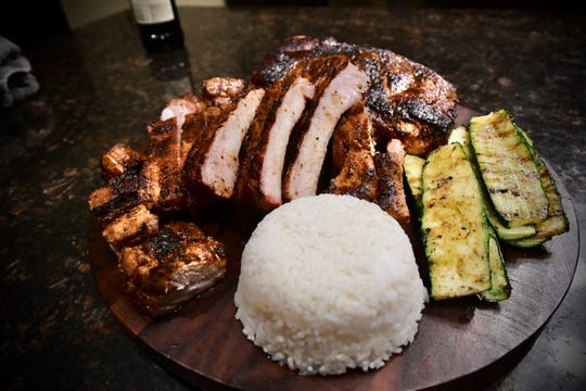 CHamoru-style ribs, plated with grilled zucchini and steamed rice. Courtesy of PDN's in-house Digital Marketing Specialist, Ryan A. James a.k.a. @Guam_Grillz on Instagram.