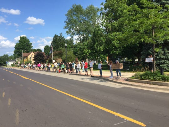 A protest against racism and police brutality happened in Pinckney, Friday, June 12, 2020.