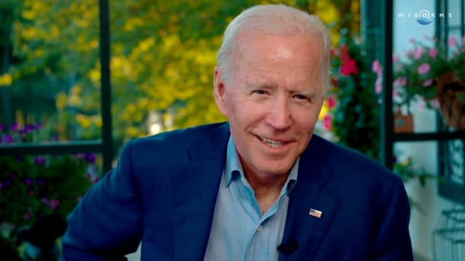Presumptive Democratic presidential nominee Joe Biden addresses Wisconsin Democrats during a virtual state convention Friday.