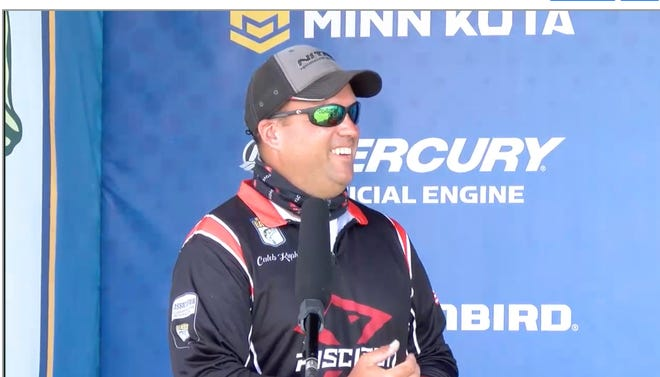 Caleb Kuphall of Mukwonago talks on the weigh-in stage Saturday after finishing sixth in the 2020 Dewalt Bassmaster Elite tournament on Lake Eufaula, Alabama. Kuphall, a rookie on the tour, was one of 10 finalists in the field of 86 professional bass anglers.