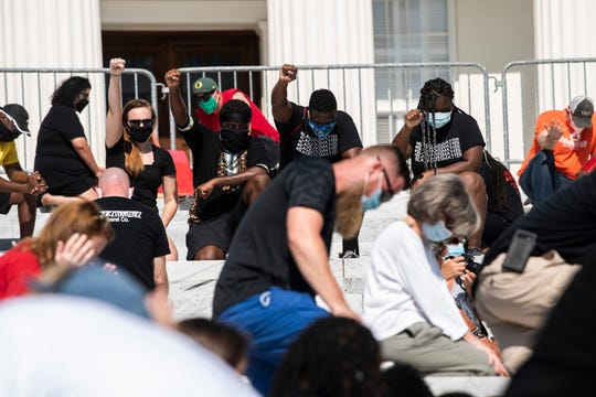 A Black Lives Matter prayer rally in Montgomery, Ala., on Saturday, June 13, 2020.