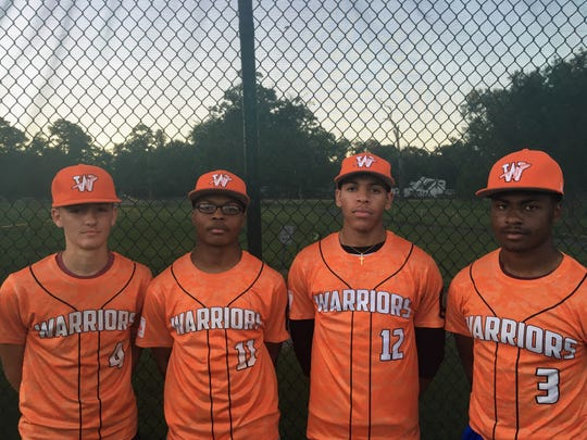 Senior players on the Iggy Castille State Farm Warriors include Tyler Thibodeaux, Davion Lemon, John Guilbeaux and Collin Guillory. The Warriors are entering their second week of American Legion Baseball play, but the team has found it challenging to secure a field. Submitted photo
