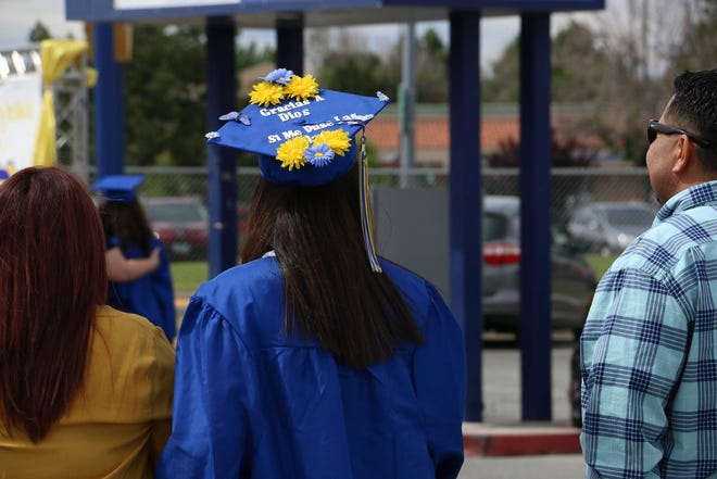 Reed High School celebrates during its graduation event at their school in Sparks on June 12, 2020.