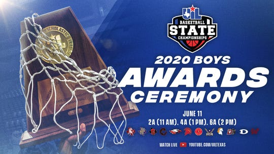 Announcement for the award ceremony for the UIL Boys State Basketball Tournament.