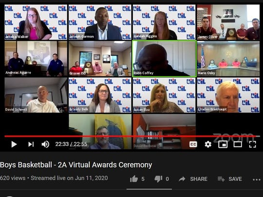 A screen capture showing the participants of a live-streamed virtual awards ceremony by the UIL honoring the Class 2A qualifiers to the Boys State Tournament. The ceremony took place June 11, 2020.