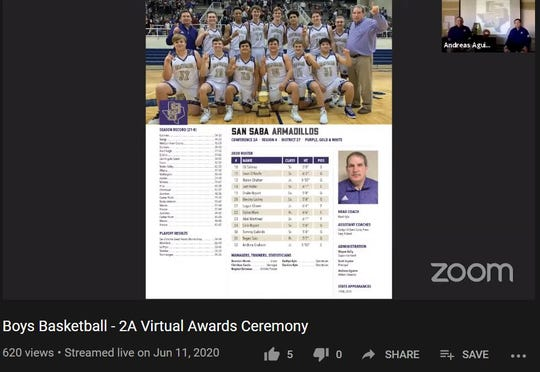 A screen capture of the livestreamed virtual awards ceremony honoring the San Saba High School boys basketball team, which qualified to the 2020 UIL State Basketball Tournament. The ceremony, honoring all four teams, took place Thursday, June 11, 2020 and was hosted by the UIL.