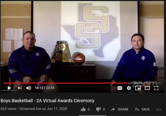 San Saba head boys basketball coach Mark Kyle, left, and assistant coach Corbyn Gilbert, right, participate in a virtual awards ceremony hosted by the University Interscholastic League to honor the four Class 2A qualifiers to the UIL State Boys Basketball Tournament. The ceremony took place Thursday, June 11, 2020. This is a screen capture of the livestream.