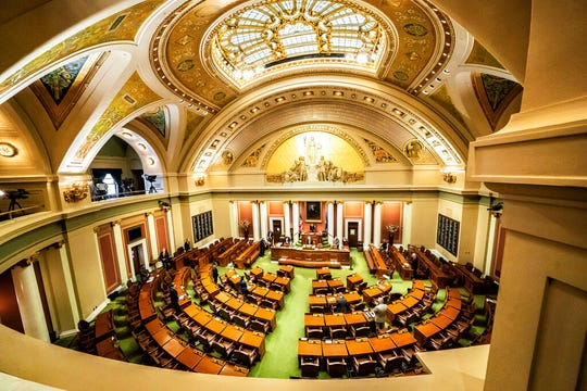 DFL House Speaker Melissa Hortman, of Brooklyn Park calls for members to stand in silence and bow their heads for 8 minutes and 46 seconds in honor of George Floyd Friday, June 12, 2020, as the Minnesota State Legislature met in a special session.