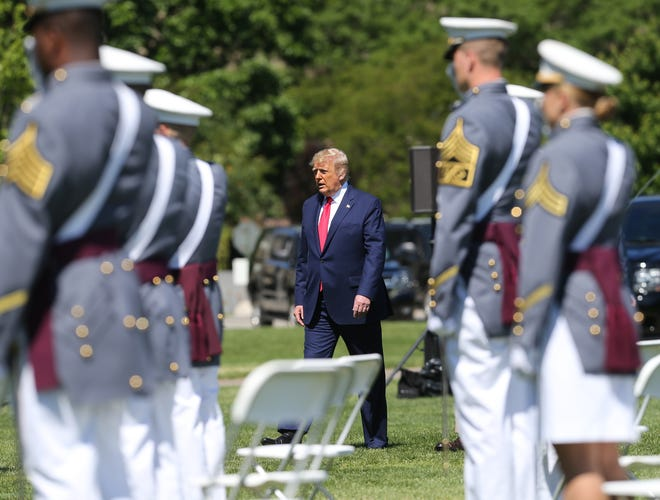 June 13, 2020; West Point, NY, USA; President Donald J. Trump arrives during the Class of 2020 commencement ceremony on the Plain at West Point.  Mandatory Credit: John Meore/The Journal News via USA TODAY NETWORK