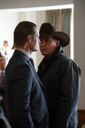 Roarke Morris (Josh Holloway), left, faces off against John Dutton (Kevin Costner) in Season 3 of Paramount Network's 'Yellowstone.'
