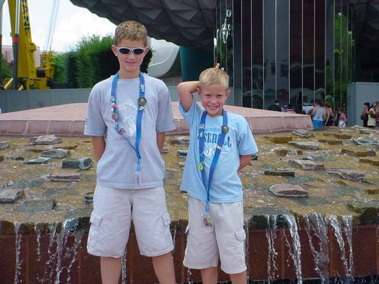 Eli and Ethan together on a family trip.