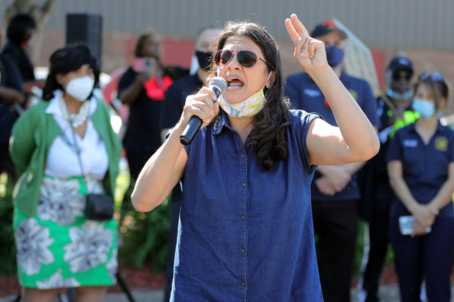 Congresswoman Rashida Tlaib spoke to a group gathered at Burning Bush International Ministries before leading a march against police brutality on Sunday, June 14, 2020 in Westland Michigan.