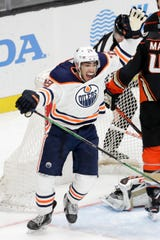 Former Red Wings forward Andreas Athanasiou has one goal in nine games this season with the Edmonton Oilers.