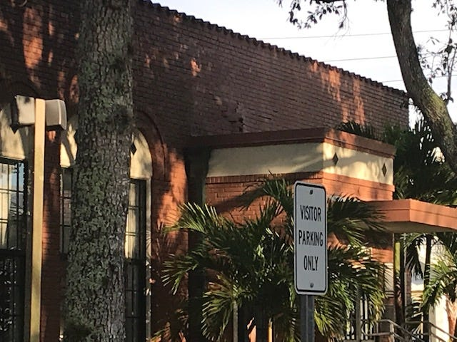 Lee County schools officials were assessing damage after a section of roofing at Bonita Springs Elementary School collapsed Saturday evening.