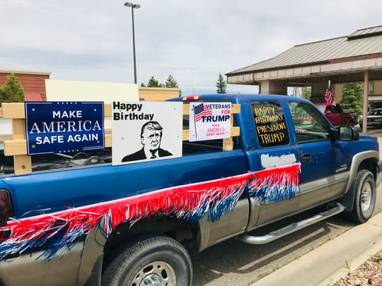 Supporters of Donald Trump gathered in Great Falls Sunday to conduct a parade through the city in celebration of the president's 74th birthday.