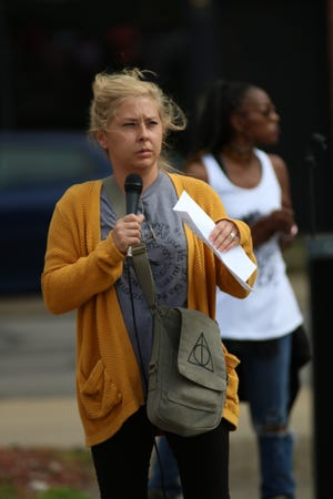 Grant Middle School guidance counselor Robin VanSickle delivers a speech to the crowd during the Black Lives Matter Rally 4 Justice on Saturday, June 13, 2020, at Founders Park in Marion. She said she believes the protests can lead to positive changes in the arena of race relations.