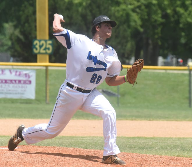 Mountain Home's Dawson Tabor delivers to the plate during the Lockeroom's 2-1 loss to Paragould on Sunday afternoon.