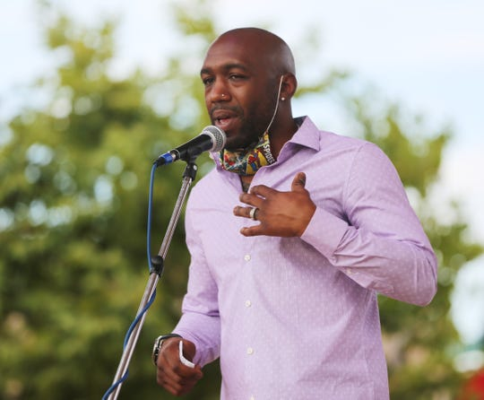 Austin Trout co-hosts a town hall meeting to discuss policing and racism at the Plaza de Las Cruces Saturday June 13, 2020.