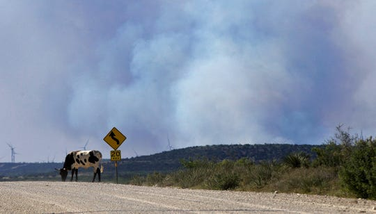 The McDaniel Fire, burning northwest of San Angelo, flares up on Saturday, June 13, 2020.
