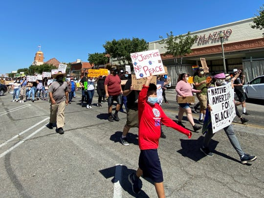 Hundreds of protesters marched on Main Street in downtown Santa Paula on June 13, 2020 as local gatherings in support of the Black Lives Matter movement continue to draw residents around Ventura County.