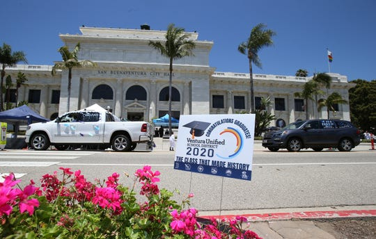 Ventura City Hall was the backdrop for diploma ceremonies for graduating high school seniors from the Ventura Unified School District.