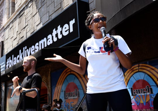 Comedian and actress Tiffany Haddish spoke during the Stand-Up for Social Justice rally at the Laugh Factory Hollywood comedy club on June 12.