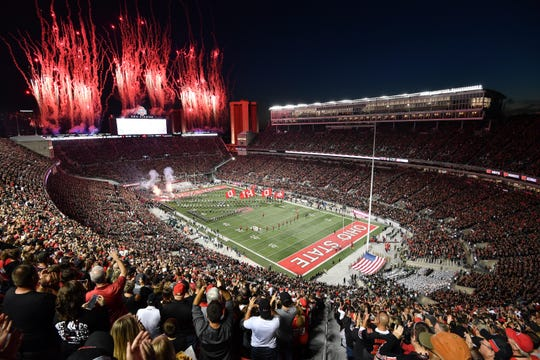 Fireworks go off as the Ohio State Buckeyes take the field for a game against the Michigan State Spartans at Ohio Stadium on October 5, 2019.