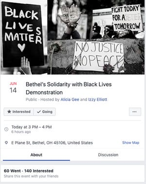 A screenshot of the Bethel Black Lives Matter demonstration Facebook event page.