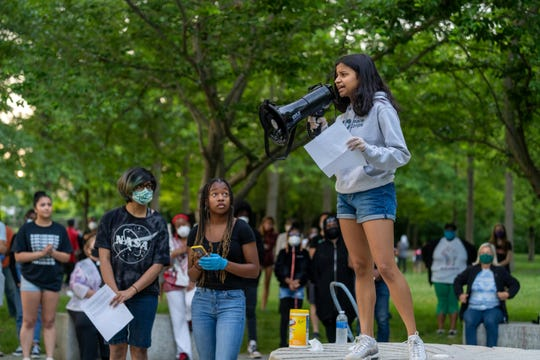 Hundreds of activists gathered at Heritage Park in Cranbury Sunday to honor George Floyd and other victims of police brutality.