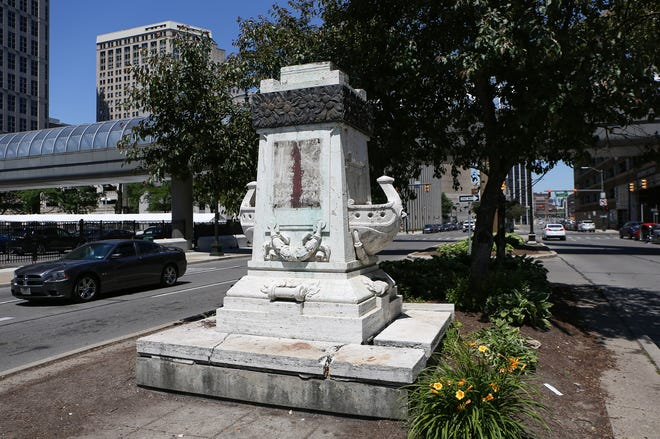 The bust of Christopher Columbus has been removed from its location on Randolph near Jefferson in downtown Detroit on Monday, June 15, 2020.