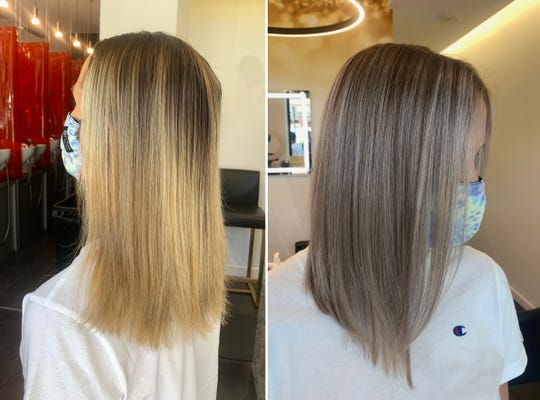 Side-by-side photos show the before and after of Alex Slater, of West Bloomfield, who had her hair done at 6 Salon in Birmingham Monday.