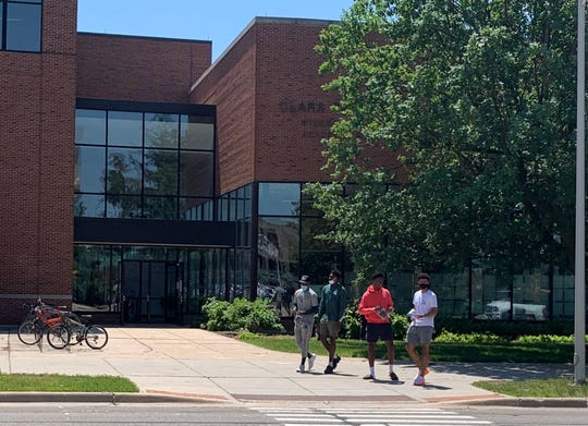 Michigan State men's basketball players Joshua Langford, Julius Marble, Mady Sissoko and Malik Hall leave the Clara Bell Smith Student Athlete Academic Support Center on Monday afternoon after getting tested for COVID-19.