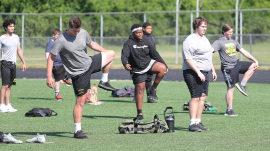 Birmingham Groves high school held their first workouts under the new COVID-19 guidelines Monday, June 15, 2020 at the school in Birmingham.