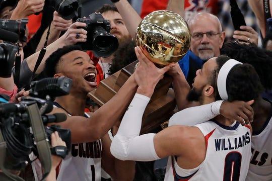 The Robert Morris men's basketball team won the Northeast Conference tournament championship last season.