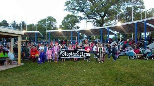 Hundreds of people took part in a Memorial Day Pow Wow  a few years ago, in which partipants sung the names of those lost to drug overdose for Tena Quackenbush's #StoptheStigma organization.