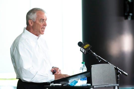 Iowa athletic director Gary Barta announced Tuesday that he is trimming $15 million out of his budget for the 2020-21 fiscal year due to uncertainty over the COVID-19 pandemic.