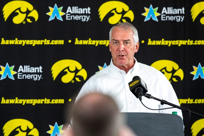 Iowa athletic director Gary Barta speaks during a news conference, Monday, June 15, 2020, at Carver-Hawkeye Arena in Iowa City, Iowa.