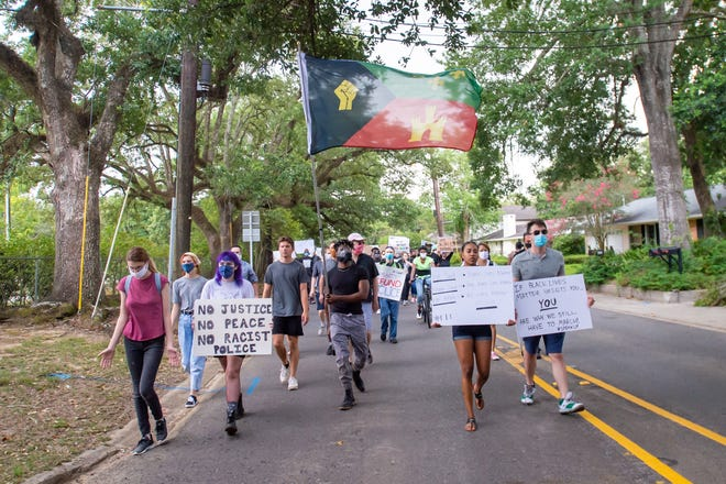 Protesters marching at Girard Park with the intention of non-violence and part of a movement demanding #JusticeForGeorgeFloyd and demanding changes in local policing.  Sunday, June 14, 2020.