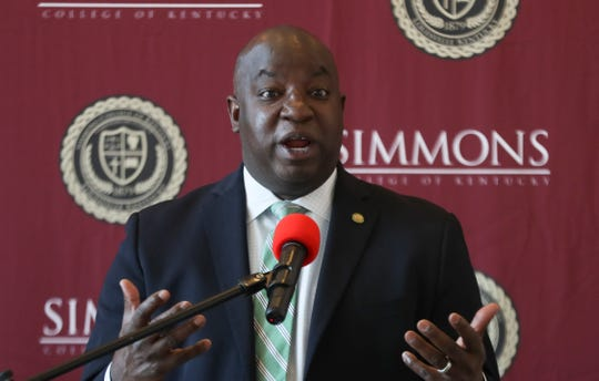 Christopher Brown, President of Kentucky State University, makes remarks during a press conference on Monday, June 15, 2020. Brown and Rev. Kevin Cosby, President of Simmons College, signed an agreement that would allow for the two schools to work more closely, especially in the recruitment of more African American teachers.