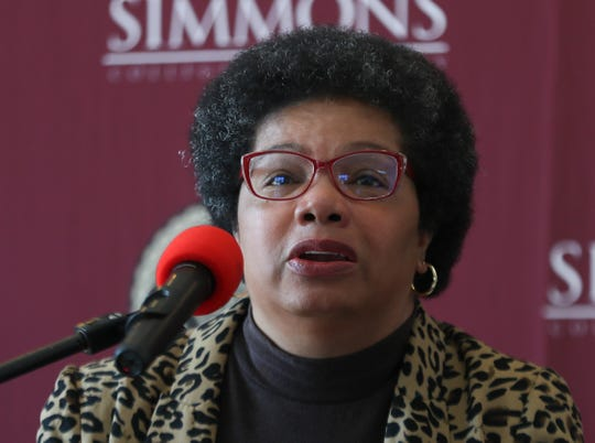 Nancy Seay, chairwoman of the sociology department at Simmons College, makes remarks during a press conference on Monday, June 15, 2020.