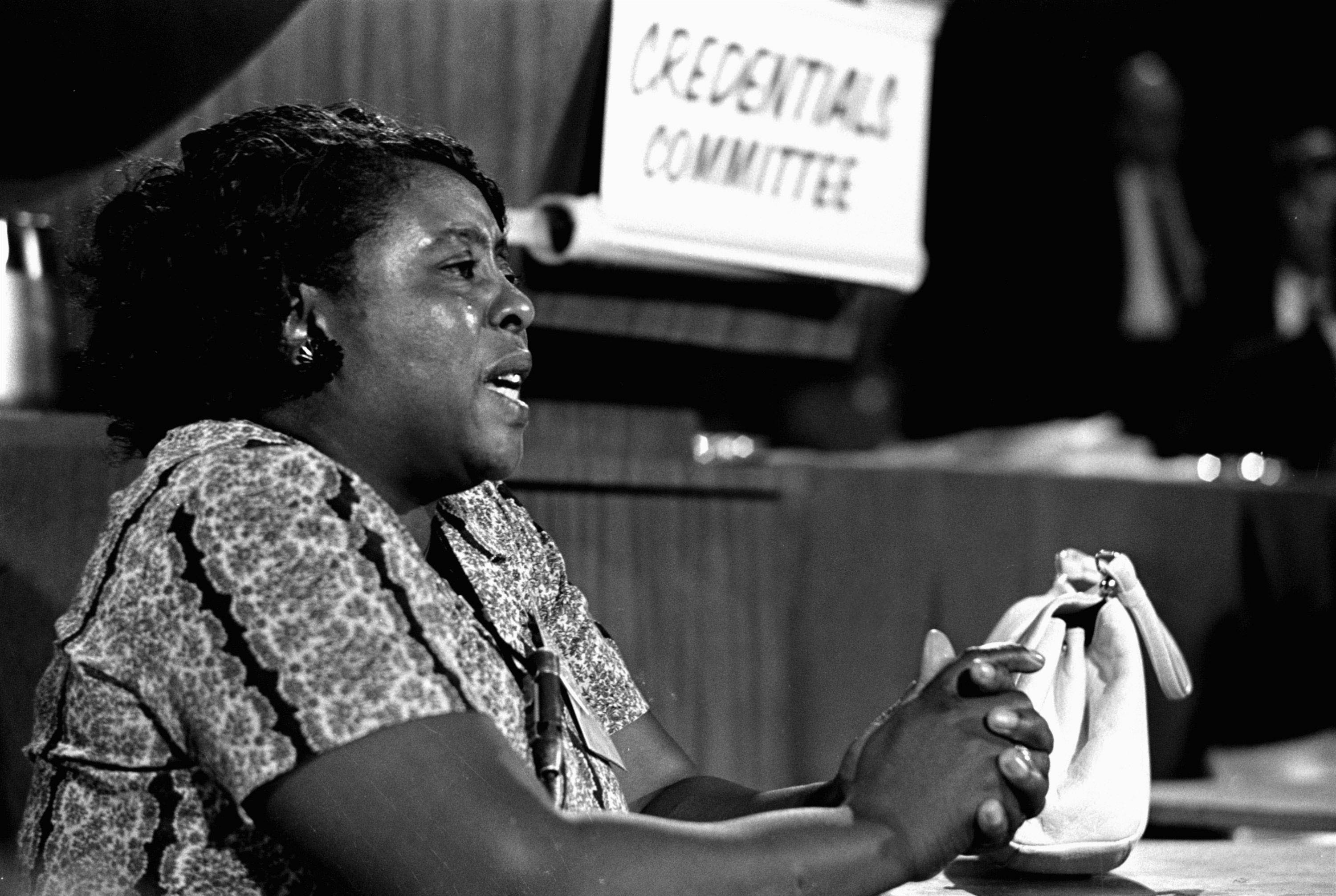Fannie Lou Hamer, a leader of the Freedom Democratic Party, speaks before the Credentials Committee of the Democratic National Convention in Atlantic City in 1964.