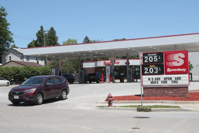 A Speedway station at South 104th Street and West Greenfield Avenue in West Allis displays gas prices.