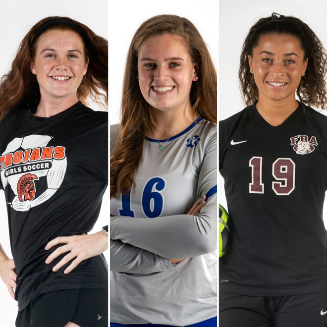 The finalists for the 2020 Naples Daily News Academic Athlete of the Year award. From left: Lely soccer player Saoirse Bowe, Barron Collier volleyball player Skylar English, First Baptist Academy soccer player Malaya Melancon.