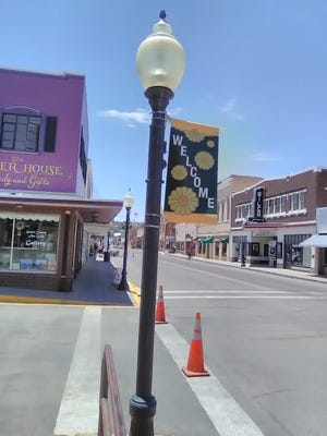 Street light banners welcome visitors to the Silver City downtown business district as part of the Silver City MainStreet revitalization plan.